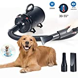 ペットドライヤー犬用グルーミングフォースヘアドライヤーヒーターブロー付き超強力2800W犬用グルーミングブロワープロフェッショナルペットドライヤーブロワー、ノイズリダクション