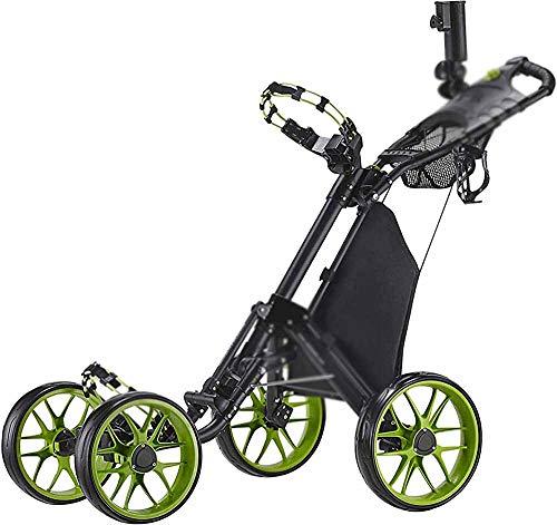 Golf Coche Triciclo Triclos Dibujado a mano Aluminio Coche plegable Bola de almacenamiento Charter de golf,Black Green