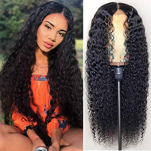 Curly Human Hair Lace Front Wigs for Black Women Brazilian Remy Long Deep Wave Frontal Wig with Middle Part Glueless Water Wave Wig with Baby Hair (Natural Color&22 inch)