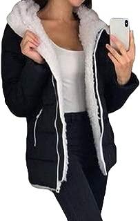 Women's Pockets Zipper Long Sleeves Warm Hooded Shaggy Lining Down Short Overcoats Outwear Top