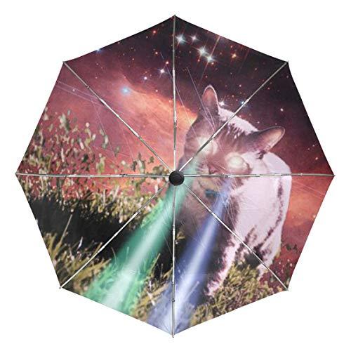 Regenschirm anpassen 3 Falten Cat Beam Winddicht Auto Öffnen Schließen Leichte Anti-UV