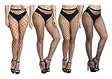 Yulaixuan Medias pantimedias medias de mujer malla pequeña malla mediana malla grande y malla x 4 piezas mezclado medias de embalaje