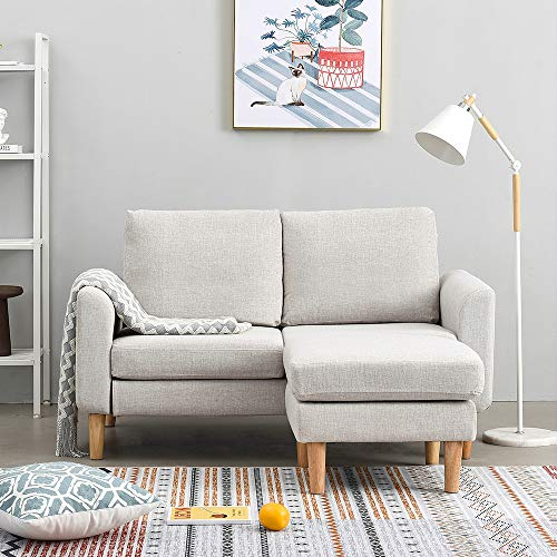 Panana 2 Seater Sofa Linen Fabric L Shaped Sofa with Footstool Corner Couch Lounge Sofa Left or Right Chaise Settee for Living Room (Beige, 2 Seater with foostool)
