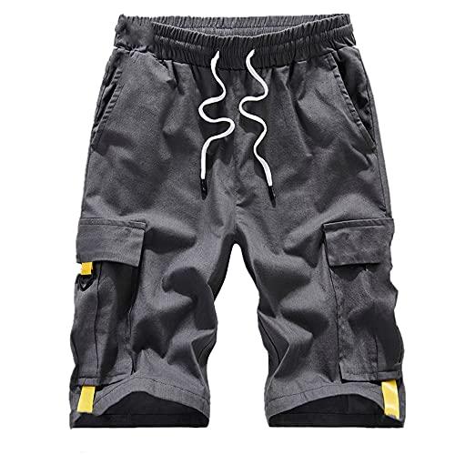 N\P Pantalones Cortos De Gran Tamaño De Verano Streetwear Masculino Bolsillos Laterales Más Longitud