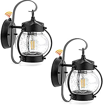 2-Pack BesLowe Dusk to Dawn Porch Light with Seeded Glass