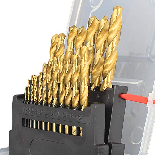 Hymnorq 1.0 to 10mm Metric Jobber Twist Drill Bits Set of 19pcs Titanium Coated HSS 4241, Straight Shank and Convinient Index Case for Wood Plastic and Soft Metal Sheet
