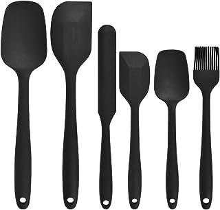 FOCCTS 6 Pièces Ustensiles de Cuisine Spatules en Silicone Antiadhésifs et Souples, Kit Spatules de Cuisine avec Pinceau p...