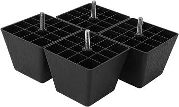 4-delige rechthoekige bankpoten Meubelverhogingskussen Zwart mat PP Plastic M8 Schroefkast Meubelaccessoires