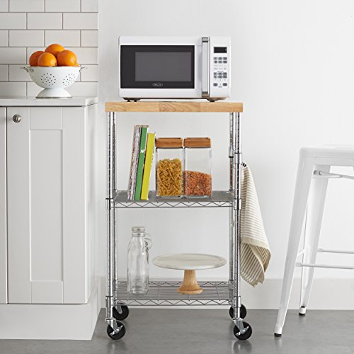 Amazon Basics Kitchen Rolling Microwave Cart on Wheels, Storage Rack, Wood/Chrome
