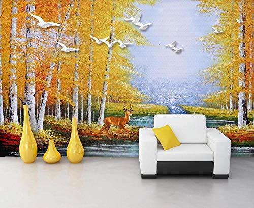 Fototapete 3D Tapete Ölgemälde Swan Lake Forest Elk Tapeten Vliestapete 3D Effekt Wandbild