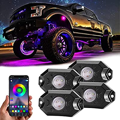 Rgb Led Rock Lights, 4 Pods Underglow Multicolor Neon Light accessories with App Control Timing Music Mode Lighting Kit Waterproof Exterior Wheel Light for Car Truck Atv Rzr Utv Suv Off Road