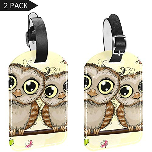 Luggage Tags Branch Owls Couple Leather Travel Suitcase Labels 2 Packs