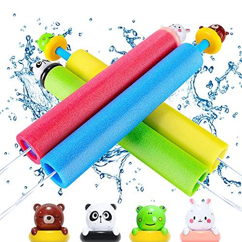 Pistola de Agua, 4 PCS Pistola de Agua de Juguete,Pistolas de Espuma para Niños con Avatar Animal de Dibujos Animados, Pistola de Agua de Espuma, Playa, Juego al Aire Libre