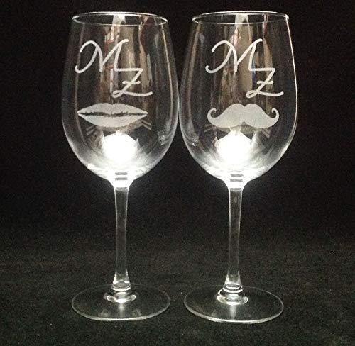 Regalo Grabado, 2 Copas Vino personalizas con Texto, Dibujo, Logo, Escudo. lo Que desee