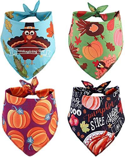 BoomBone 4 Pack Thanksgiving Dog Bandana,Pumpkin Turkry Bandanas for Dogs,Triangle Bibs Pet Scarf