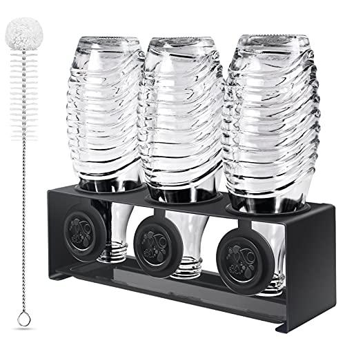 KERNOWO Edelstahl Flaschenhalter kompatibel mit Sodastream Flaschen Abtropfhalter 3 er - Abtropfständer für Sodastream Crystal und Emil Flaschen, Abtropfgestell SodaStream Flaschenhalter