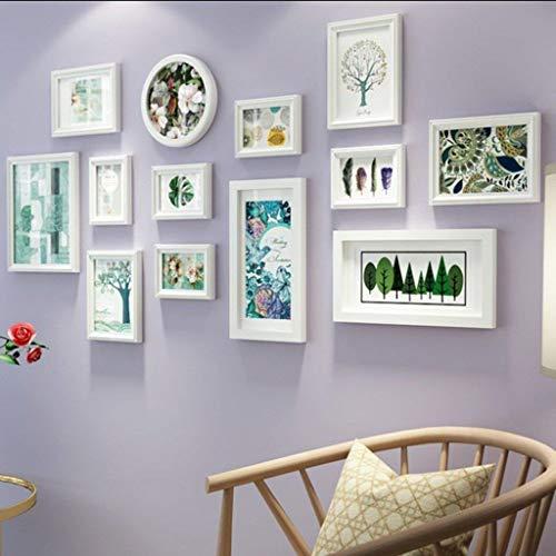 Jjek massief houten fotolijst fotomuur, kleine frisse moderne minimalistische stijl decoratieve muur, geschikt voor eetkamer slaapkamer bank decoratieve muur 142x69cm B