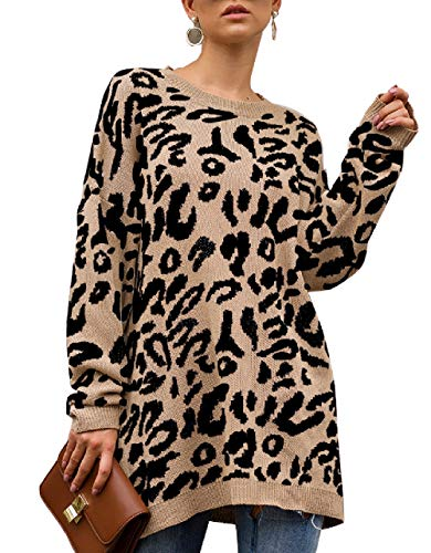 Trendy Sweaters for Women Cheetah Print Tunic Dress Plus Size for Fall Oversized Tops Khaki XXL