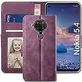 YATWIN Handyhülle Nokia 5.4 Hülle, Klapphülle Nokia 5.4 Premium Leder Brieftasche Schutzhülle [Kartenfach][Magnet][Stand] Handytasche für Nokia 5.4 Hülle, Weinrot