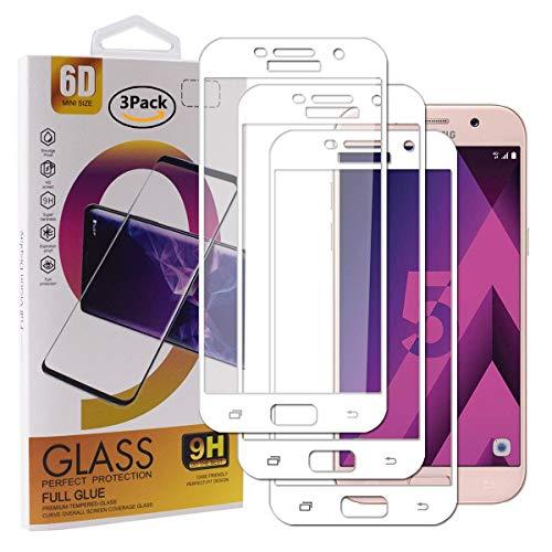 Guran [3 Paquete Protector de Pantalla para Samsung Galaxy A5 2017 A520F Smartphone Cobertura Completa Protección 9H Dureza Alta Definicion Vidrio Templado Película - Blanco