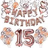 HOWAF Decoración de cumpleaños 15 en Oro Rosa, 59 Piezas Feliz cumpleaños Decoración Globos Guirnalda Banner 15 Años Globos de Confeti y Estrella Corazon Globos de Aluminio para niñas y Mujeres