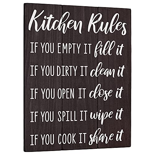 Kitchen Rules Sign Home Decor - Modern Farmhouse Wall Art - Rustic Wood Country Plaque 11x14 Funny Black and White Shelf Accent Wooden Decoration for House