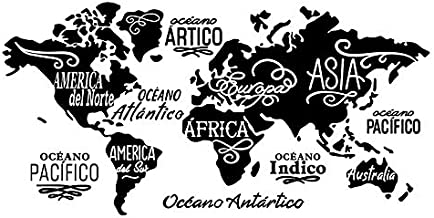 The World Map Wall Decor Removable Vinyl Decal Art Mural Home Decor Wall Stickers (Spanish, 31.5