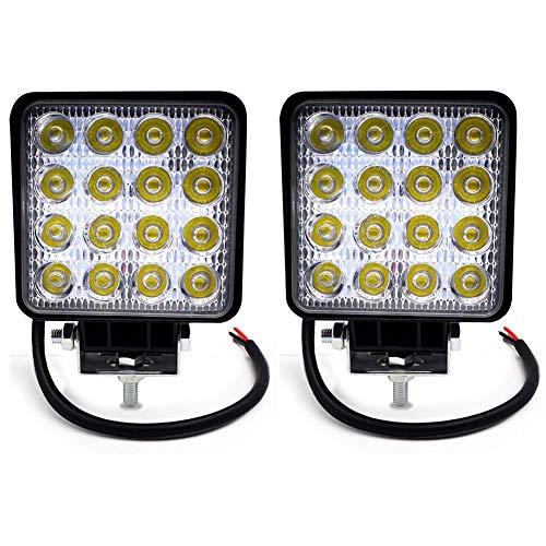 Focos de Coche LED, 48W 12V / 24V Faros Led Trabajo Proyectores Luz de carretera Luz de trabajo auxiliar para trabajo fuera de carretera Barra de luz LED impermeable para camión, tractor 2pcs