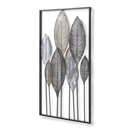 Kave Home - Panel Mural Leaves Multicolor Rectangular 52,5 x 95 cm de Acero