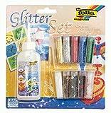 folia 579 - Glitter Set, bestehend aus Bastelkleber und 10 Dosen Glitterpulver und -streuteile, farbig sortiert - ideal zum Verzieren Ihrer Bastelarbeiten, Grußkarten, Scrapbooking, und...