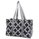 Pickleball Bag: Large Sports Duffle for Gear, Paddle & Pickleball Balls - Easy-to-Clean Gym Tote with Moisture Resistant Interior, Key Ring & 6 Outer Pockets (Black/White)
