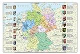 Idena 10448 Schreibtischunterlage mit Zwei Einstecktaschen, Deutschlandkarte, FSC Mix, ca. 58,5 x 38,5 cm, praktisches Zubehör für Kinder, Jugend-und Arbeitszimmer