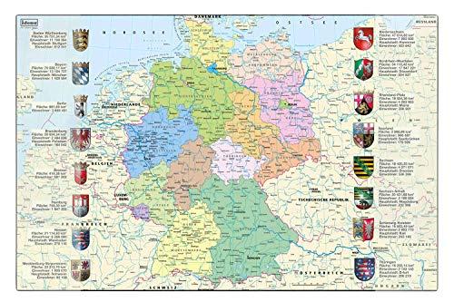 Idena 10448 - Protector de Escritorio con Dos Bolsillos, Mapa de Alemania, FSC Mix, Aprox. 58,5 x 38,5 cm, práctico Accesorio para niños, jóvenes y Habitaciones de Trabajo