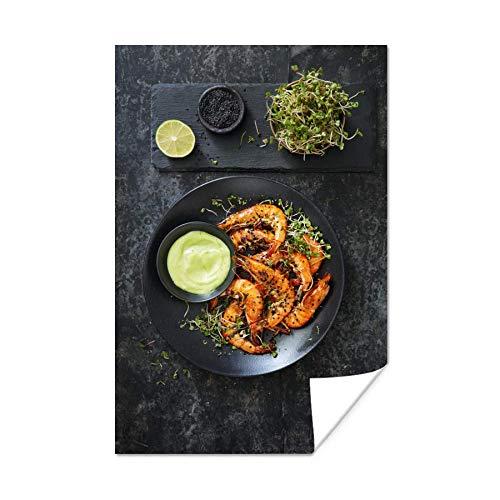 Poster Garnelen - Shrimp Court in einer schwarzen Schale 120x180 cm / XXL Lebensmittel / Großformat! - Fotodruck auf Poster - Wanddekoration Wohnzimmer / Schlafzimmer