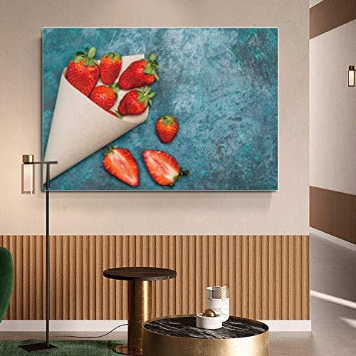 HERW Dekorative Malerei Der Leinwandmalerei 3D Druckend Nordic Fresh Fruit Kitchen Poster Und Print Canvas Print Rote Erdbeeren Wandkunst Küche Dekorative Bild Leinwand Malerei