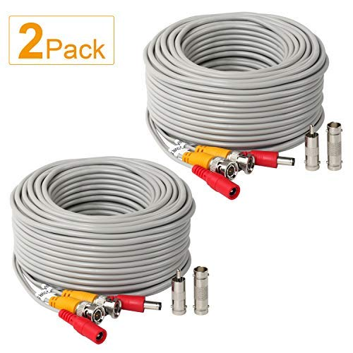 2Pack 25Feet BNC Vedio Power Cable Pre-Made Al-in-One Camera Video BNC Cable Wire Cord Gray Color for Surveillance CCTV Security System with Connectors(BNC Female and BNC to RCA)