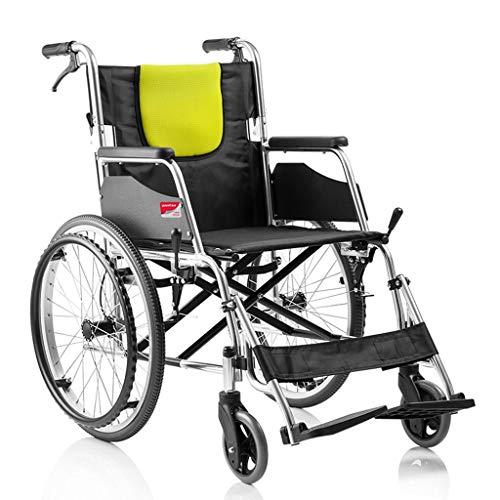 Walker Chair Wheelchair Silla de ruedas plegable Asiento ancho ligero con frenos de mano, asiento acolchado con marco de acero inoxidable y reposapiés elevable desmontable Flip rápido con cinturón, si