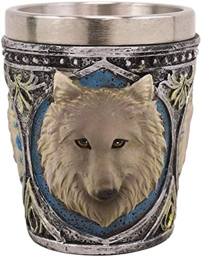 Ebros Full Moon Mythical Animal Spirit Alpha Wolf Themed 2-Ounce Shot Glass Resin Housing With Stainless Steel Liners Wolves or Timberwolves Themed Souvenir And Party Hosting Idea (Gray Direwolf, 1)