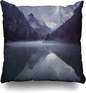 Ahawoso Throw Pillow Cover Cold Blue Hill Mountains Sky Reflection Lake Forest Nature Orange Dark Parks Green Backgound Alps Fog Decorative Pillowcase Square 20x20 Home Decor Zippered Cushion Case