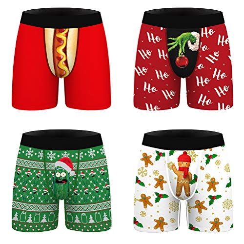 Surwin 4er Funny Herren Boxershorts Unterhose, Jungen 3D Weihnachten lustig Bedruckte Unterwäsche Elastisch Atmungsaktiv Low Rise Trunks und Bequem Viele Größen (Weihnachtsmütze,L)