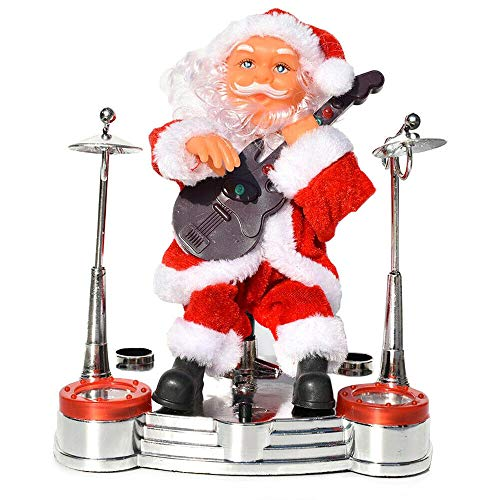 Muñeco eléctrico de Papá Noel, Adorno navideño, Tocando Instrumentos Musicales, Juguete con...