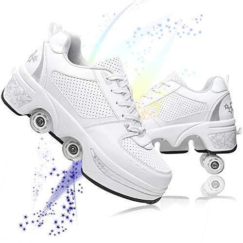 BHC Patines Patines Deformación Parkour Zapatos Zapatos de Mujer con Rueda deformable de Doble hilera, Zapatos de Patinaje retráctiles para Adultos, niñas, niños y Principiantes