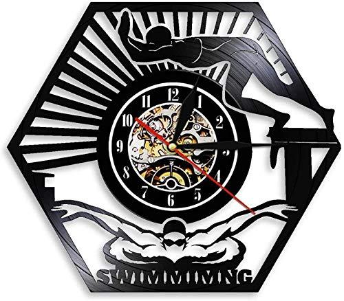 hxjie Deportes acuáticos Piscina Mural Nadador Reloj de Pared de Vinilo Retro Reloj de Pared Submarino Reloj de Pared de diseño Moderno