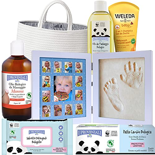 Regalo Bebe Personalizado con Marco Fotos y huella y set de productos BIO