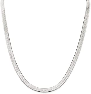 Sterling Silver 7MM Herringbone Flat Snake Magic Chain - Sterling Silver Flat Necklace for Men and Women