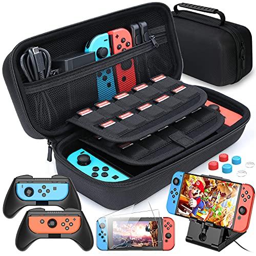 Funda para Nintendo Switch, HEYSTOP 11 en 1 Nintendo Switch Estuche portátil Incluye 2...