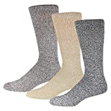 3 Pairs of Premium Cotton Diabetic Crew Socks with Non Binding Top, Extra Soft Socks, Marled Heather Grey (Size 9-11)
