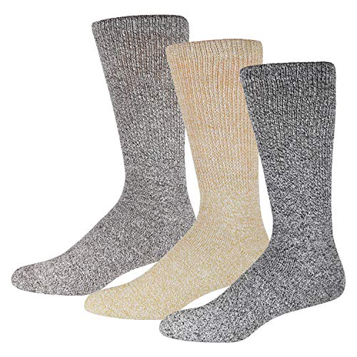 3 Pairs of Premium Cotton Diabetic Crew Socks with Non Binding Top, Extra Soft Socks, Marled Heather Grey (Size 10-13)