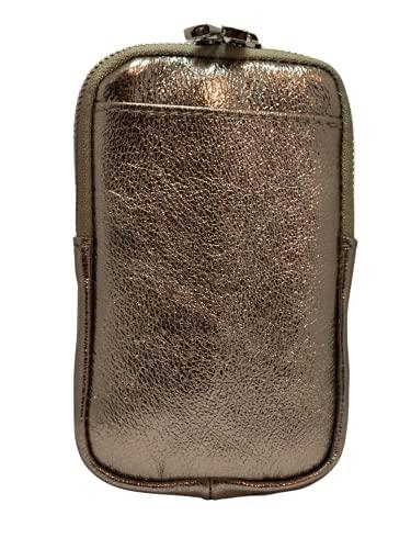 Bolso para móvil de mujer con correa de piel, fabricado en Italia, bronce, Talla única,