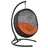 Modway EEI-739-ORA-SET Encase Wicker Rattan Outdoor Patio Porch Lounge Egg, Swing Chair with Stand, Orange